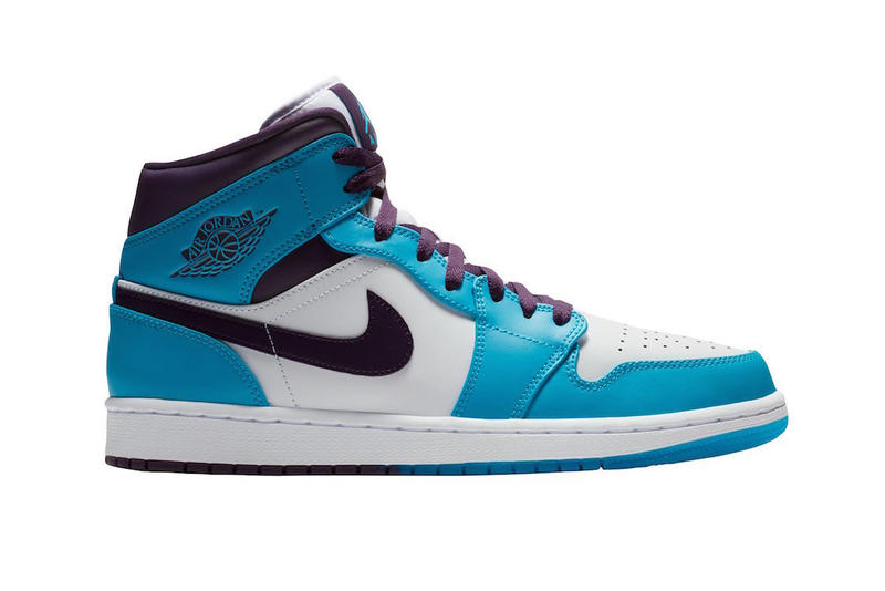 63217b7dbf2989 Jordan Brand Air Jordan 1 Mid Hornets blue teal purple white release
