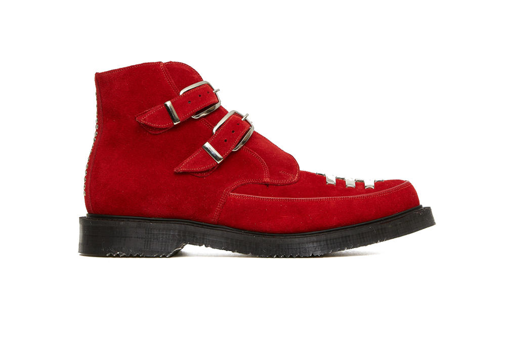 ALYX George Cox Creeper boot shoe strap stud black silver red white pony hair collaboration collection spring summer 2018 release drop march 15