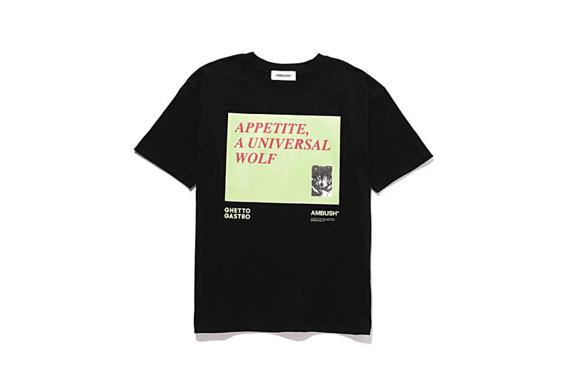 Ambush ghetto gastro collaboration collection t-shirt hat graphic spring summer 2018 drop release info march 28 2018