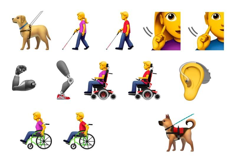 Apple iPhone Accessibility Emoji Guide Dog Cane Deaf Sign Hearing Aid Ear Wheelchair Mechanical Prosthetic Arm Leg Service