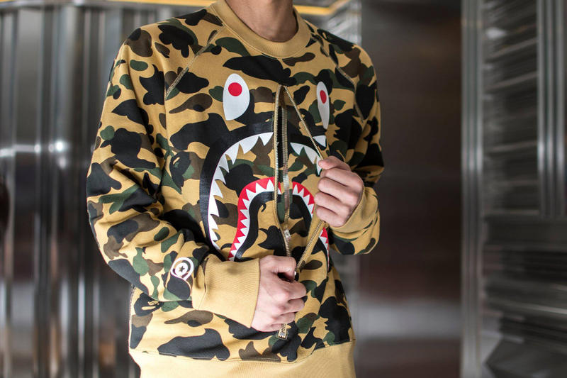e893e431 BAPE 1ST CAMO SHARK CREWNECK TEE Streetwear Mens Fashion Menswear Men  Clothing Japan Culture Street style