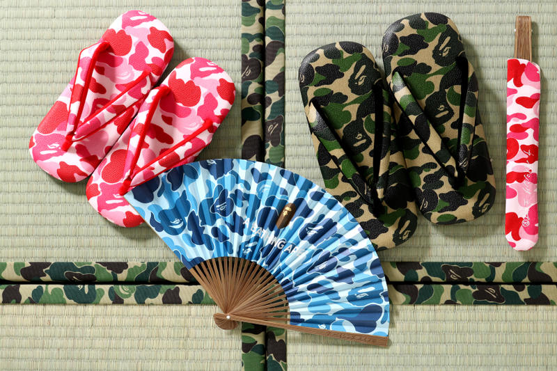 BAPE A Bathing Ape Japanese Sandals and Fan Collection pink blue green abc camo