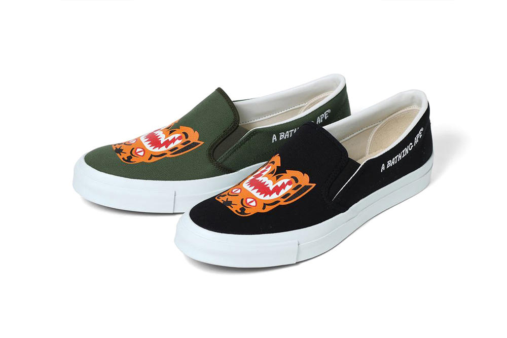 BAPE Tiger Slip On black olive green spring summer 2018 march 17 release date info sneakers shoes footwear a bathing ape tiger embroidery