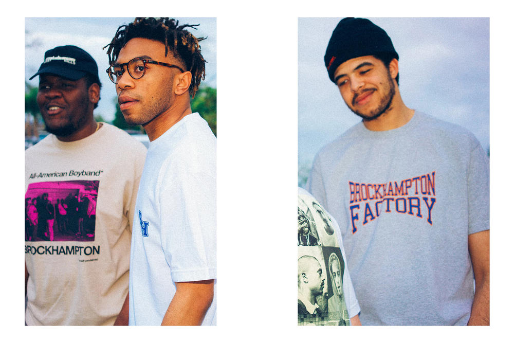 BROCKHAMPTON lookbook spring summer 2018 collection drop release shirts water bottles backpacks branding logo gay factory all american boyband willy records april 2 info date