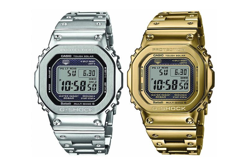 G-SHOCK GMW-B5000 Casio G Shock Watches Digital Solar powered Silver Gold