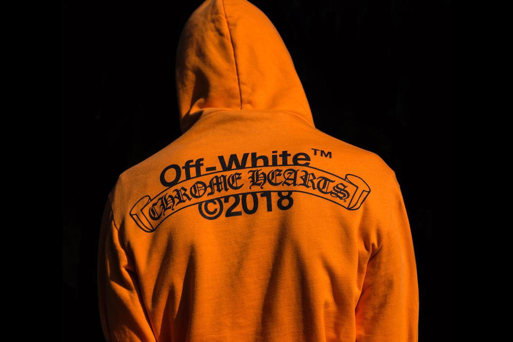 Chrome Hearts Off-White collaboration hoodie orange logo branding drop new york city nyc exclusive limited special edition march 29 2018