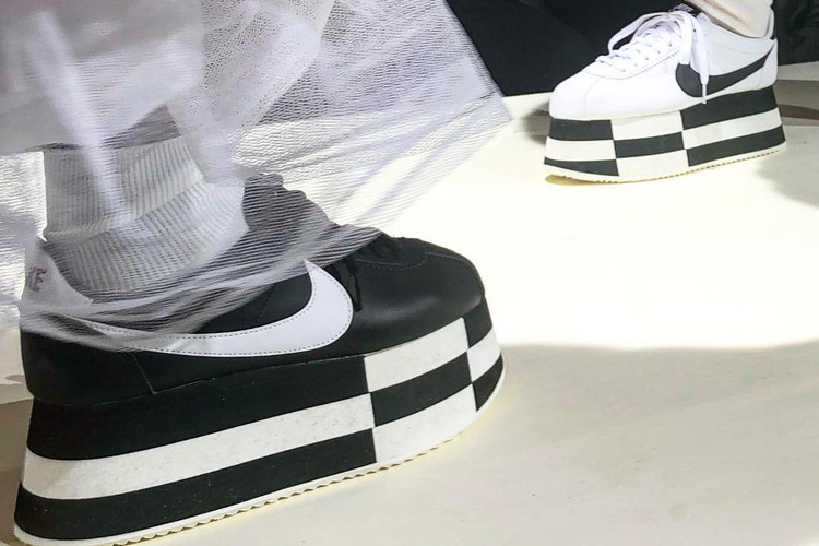 new products 452d2 01e4c COMME des GARÇONS Debuts Stacked Nike Cortez Models on FallWinter 2018  Runway