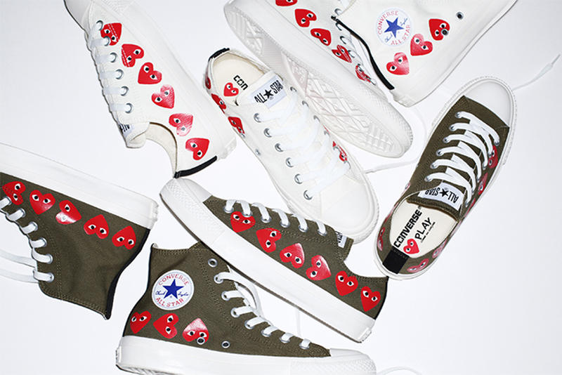 COMME des GARCONS PLAY Converse Chuck Taylor All Star New Collaboration spring summer 2018 march release date info drop sneakers shoes footwear white khaki colorway