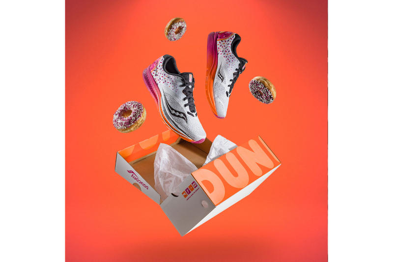 Dunkin' Donuts  Saucony Kinvara 9 sprinkle magenta orange frosted donuts iced hot coffee