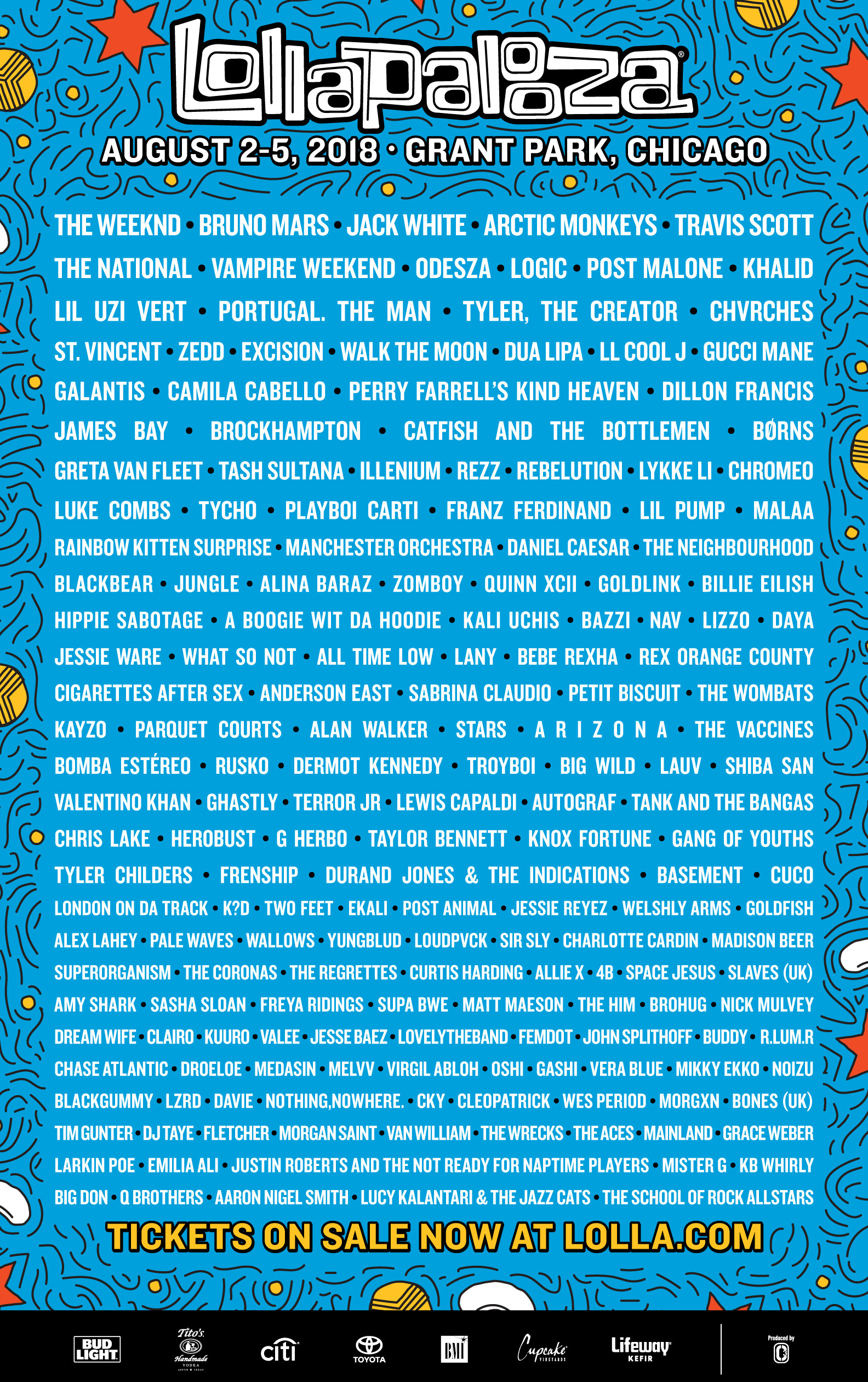 Lollapalooza 2018 Lineup The Weeknd Bruno Mars Travis Scott Jack White Arctic Monkeys grant park chicago august 2 5 2018