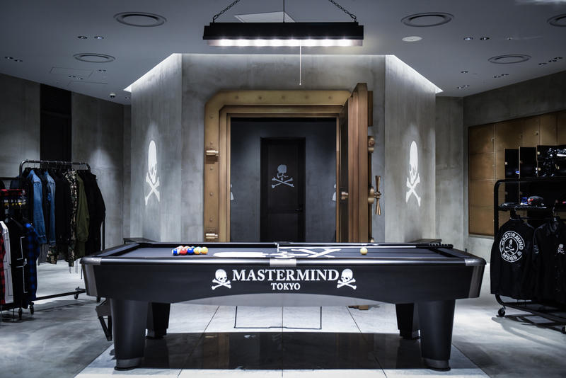 Mastermind Tokyo Flagship Store Hibiya Midtown Vans Kangol Japan streetwear fashion cards pool bank vault interior design look around inside