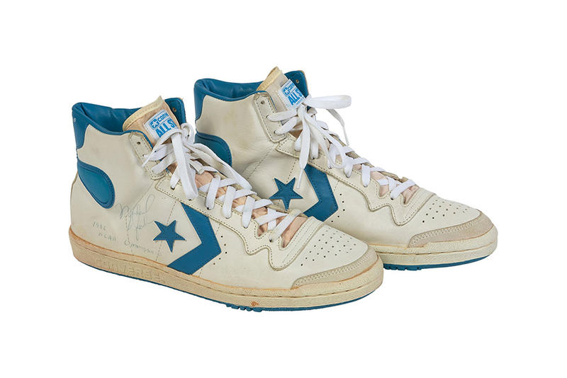 baad58ac206441 Michael Jordan Game Worn Converse Fastbreak Auction White Light Blue
