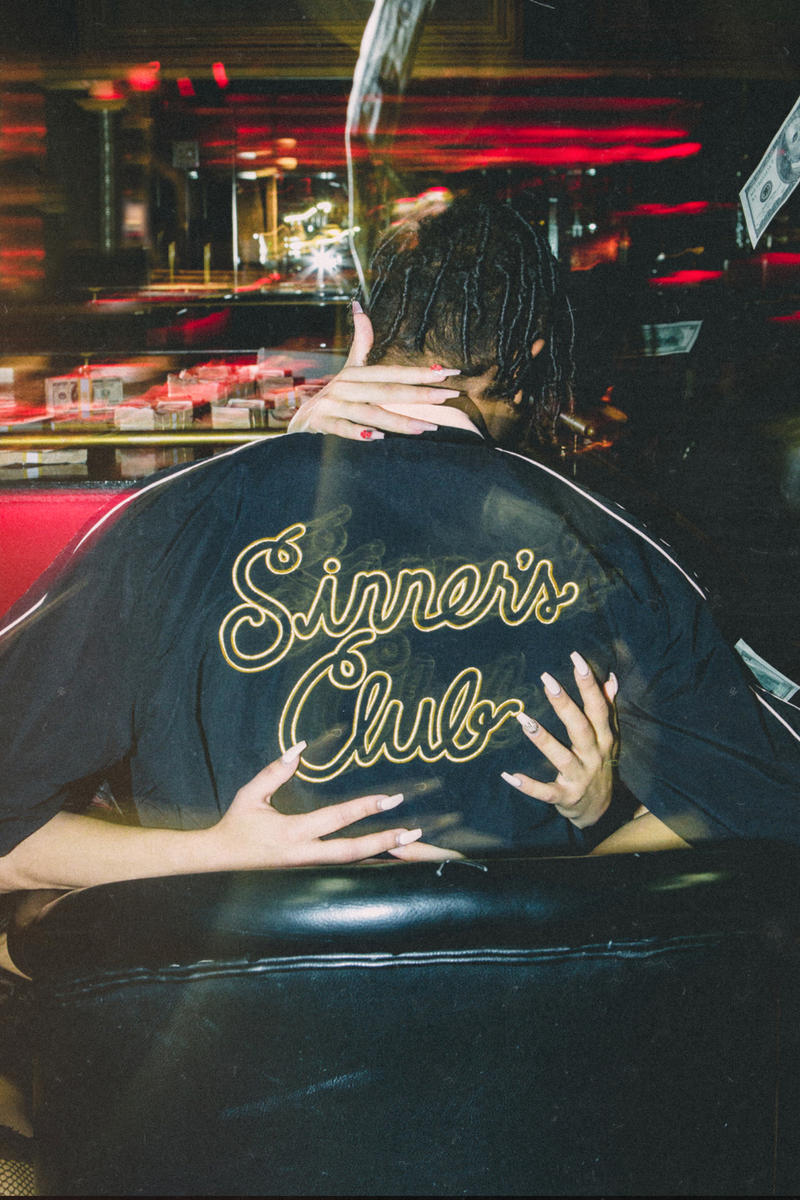 "Feature Mitchell & Ness ""Sinner's Club"" Capsule Clothing Collection Capsule warmup warm up suit velour shorts jacket t-shirt hat tear away pants"