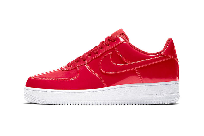 official photos 69a13 5d00e Nike Air Force 1 Low Patent Leather Release Cherry Red Bright Volt