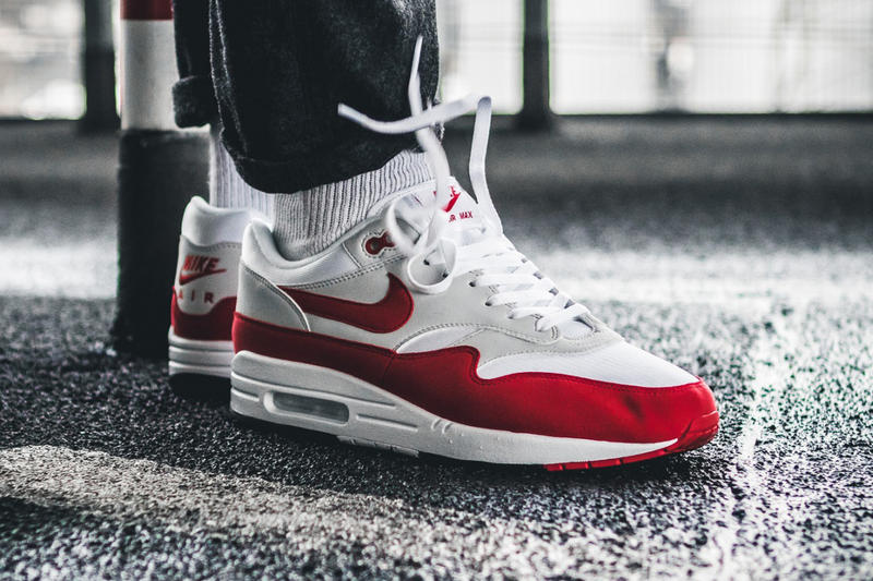 check out 0734d c4cdb Nike Air Max 1 Anniversary Air Max Day 2018 Release University Red White  Neutral Grey Black