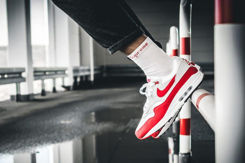 Nike Air Max 1 Anniversary Air Max Day 2018 Release University Red White Neutral Grey Black