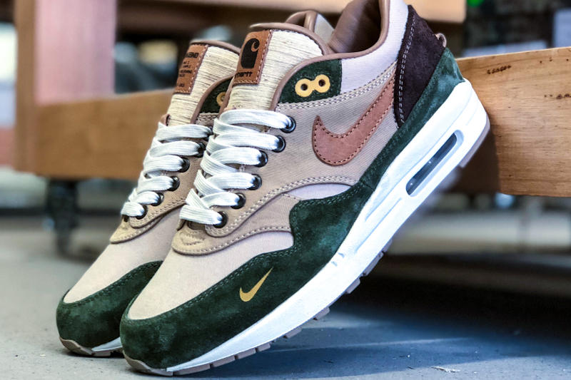 nike air max 1 duck canvas carhartt bespokeind custom sneakers footwear shoes
