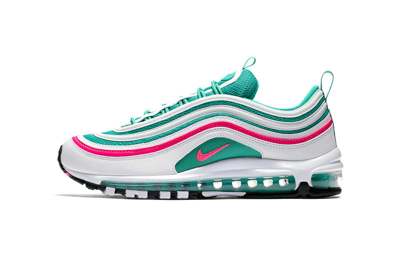 Nike Air Max 97 South Beach White Pink Blast Kinetic Green Black 921826 102  march 31 7a7c45dd3
