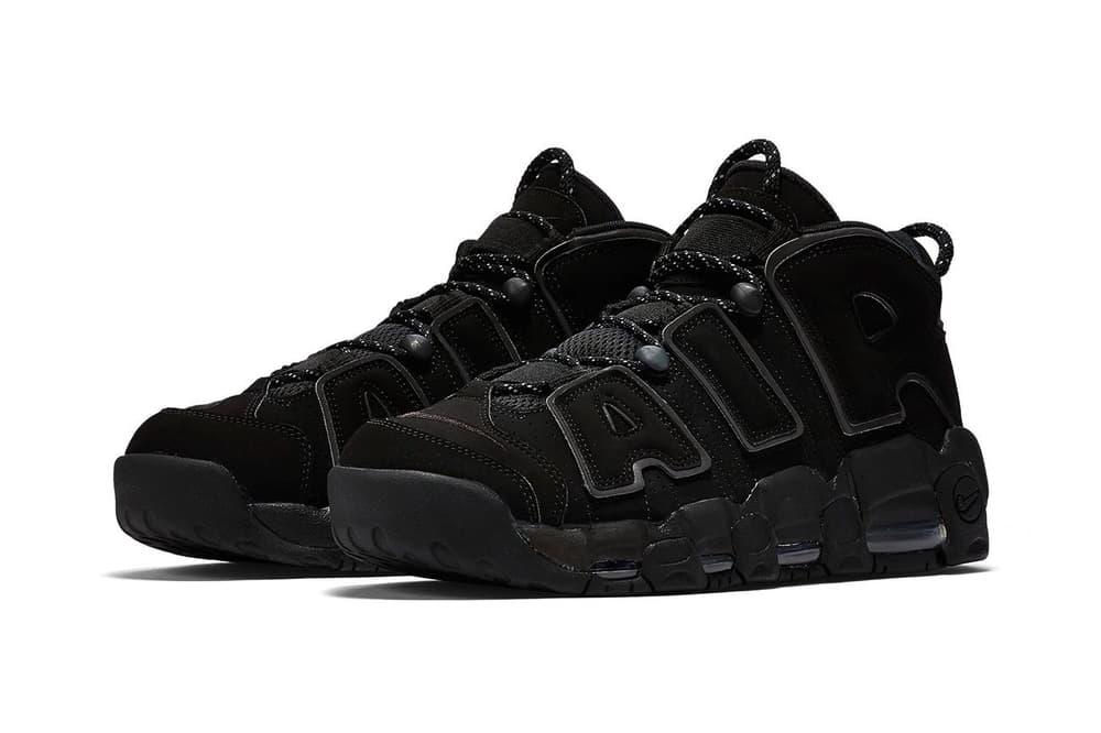 "Nike Air More Uptempo ""Triple Black"" reflective release info"