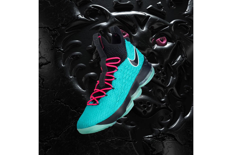 fd1f2078212 Nike LeBron 15 South Beach black teal pink sneakers footwear LeBron James