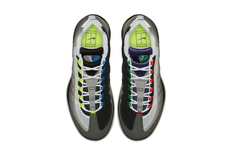 NikeCourt Vapor RF Air Max 95 Greedy hyrbrid nike roger federer 2018 march 20 release date info drop sneakers shoes footwear volt safety orange AO8759 077​