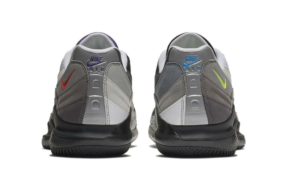 NikeCourt Vapor RF Air Max 95 Greedy hyrbrid nike roger federer 2018 march 20 release date info drop sneakers shoes footwear volt safety orange AO8759 077