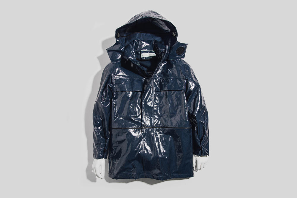 Off-White Virgil Abloh Spring Summer 2018 Jacket Release Diagonal M65 Camo Jacket Navy Glossy Velcro Coat