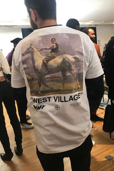 Virgil Abloh off white staff t-shirt fall winter 2018 runway collection milan womens west village sir alfred james munnings NED OSBORNE ON GREY TICK teaser instagram graphic