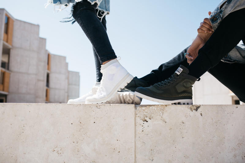 Palladium sneaker footwear shoe boot military ax_eon pampa high lite k crushion knit canvas collection capsule pallaphoenix paris phoenix ss18 fw18 spring summer fall winter 2018 preview teaser white