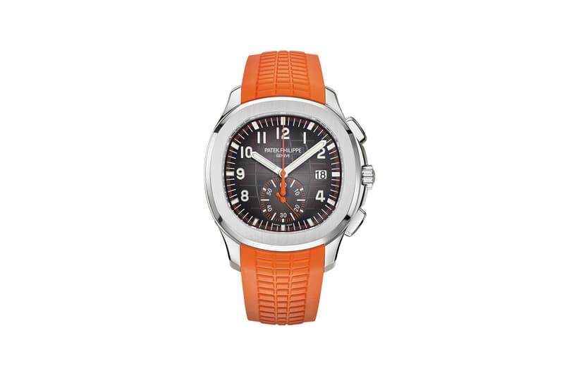 Patek Philippe 5968A Aquanaut Chronograph Steel Watch Orange Black Rubber Straps Arabic Numerals Water Resistant 38,600 CHF $40,700 USD