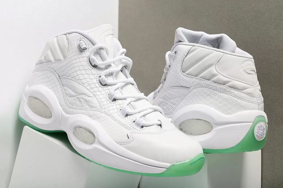 9d4e9a96b037 Allen Iverson s Reebok Question Mid Debuts Rocking a White Mint Makeover
