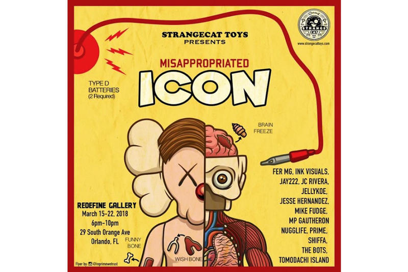 """Misappropriated Icon"" KAWS Custom Show Redefine Gallery Presented by StrangeCat Toys Opens March 15 22 Fer MG Ink Visuals Jay222 JC Rivera JellyKoe Jesse Hernandez Mike Fudge MP Gautheron Nugglife Prime Shifa The Bots Tomodachi Island Orlando Florida"