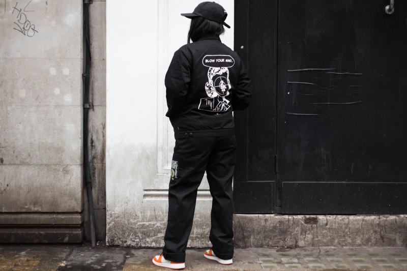 Street Style Supreme UNDERCOVER Public Enemy Streetsnaps Supreme Soho Store London Drop Fear of a Black Planet Fight the Power Chuck D Flava Flav Work Jacket Puffa Jacket