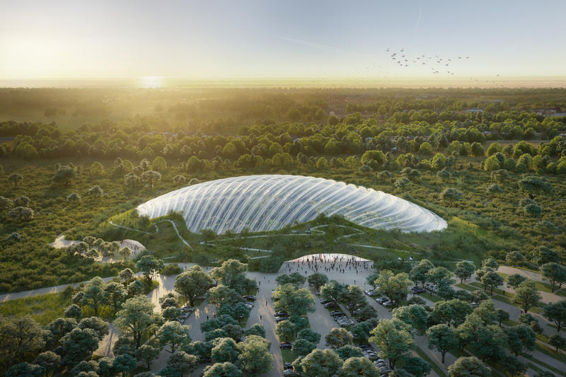 Tropicalia Single Domed Greenhouse Coldefy & Associates Dalkia France