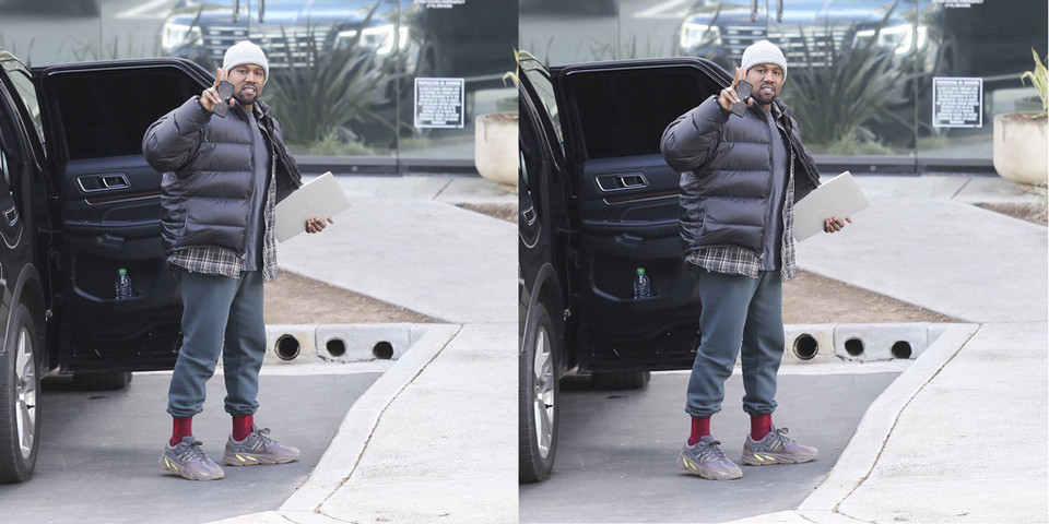 d0c2b03a02f49 Kanye West in Purple adidas YEEZY Wave Runners
