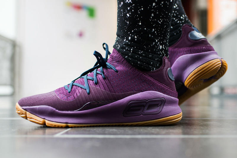 Under Armour Curry 4 Low Grove Green Merlot colorways drop release info on feet look date stephen signature shoe sneaker footwear