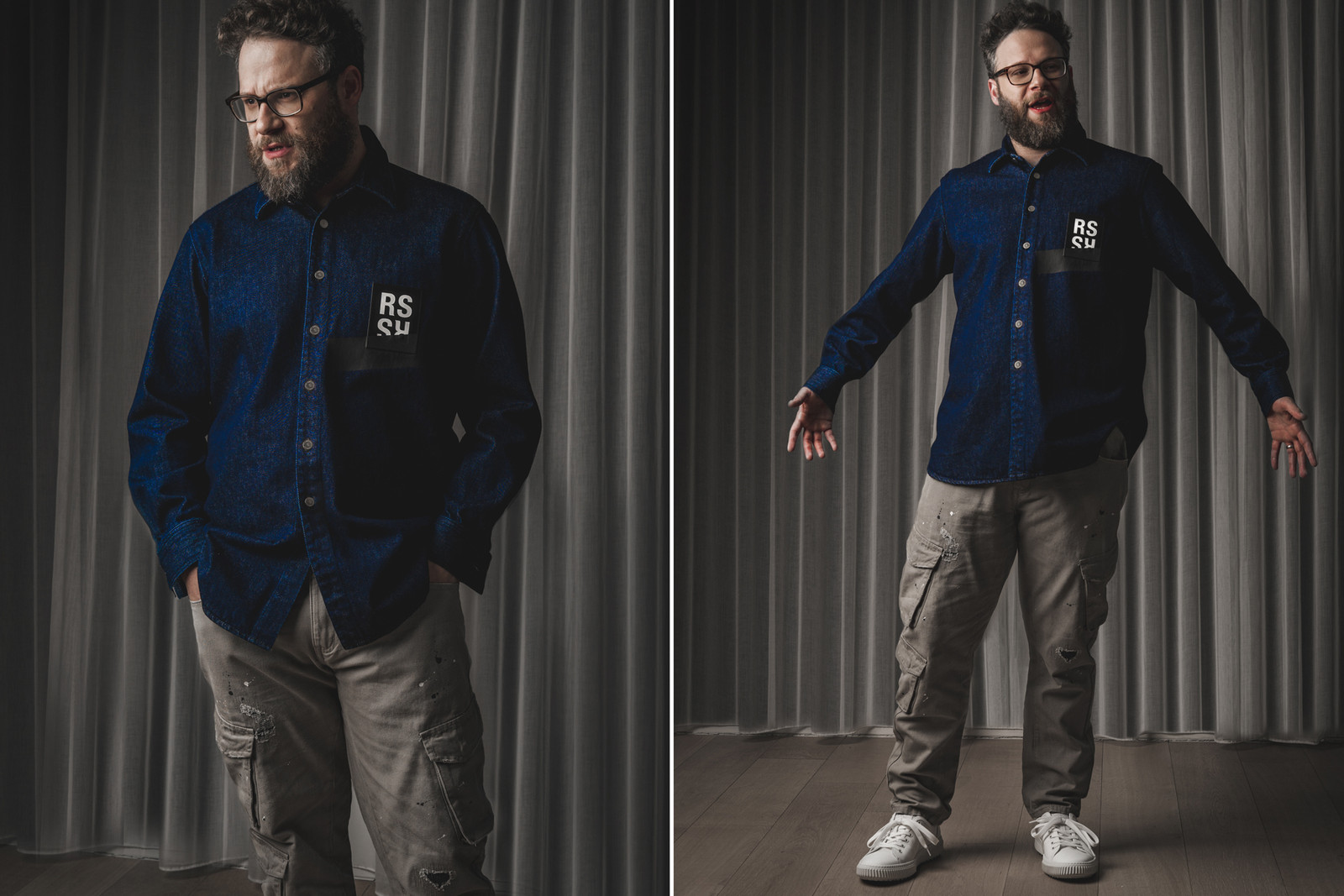 Seth Rogen Raf Simons Oversized Denim Shirt With Applique Detail Glasses Kith Cargo Pants Valentino Sneakers