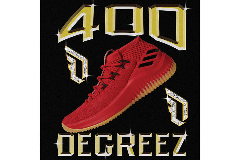 adidas Dame 4 Juvenile 400 Degreez Rapper Basketball Red Suede Gum Rubber