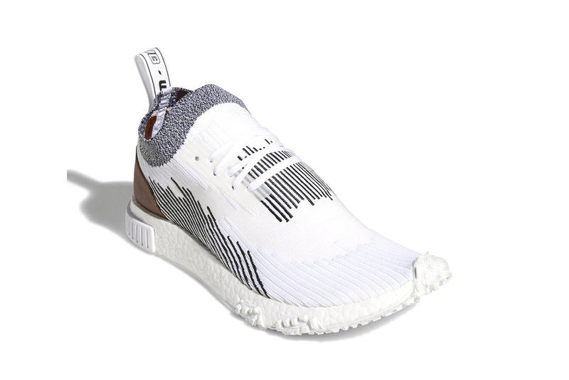 adidas NMD Racer leather heel patch Whitaker Car Club white black footwear sneakers