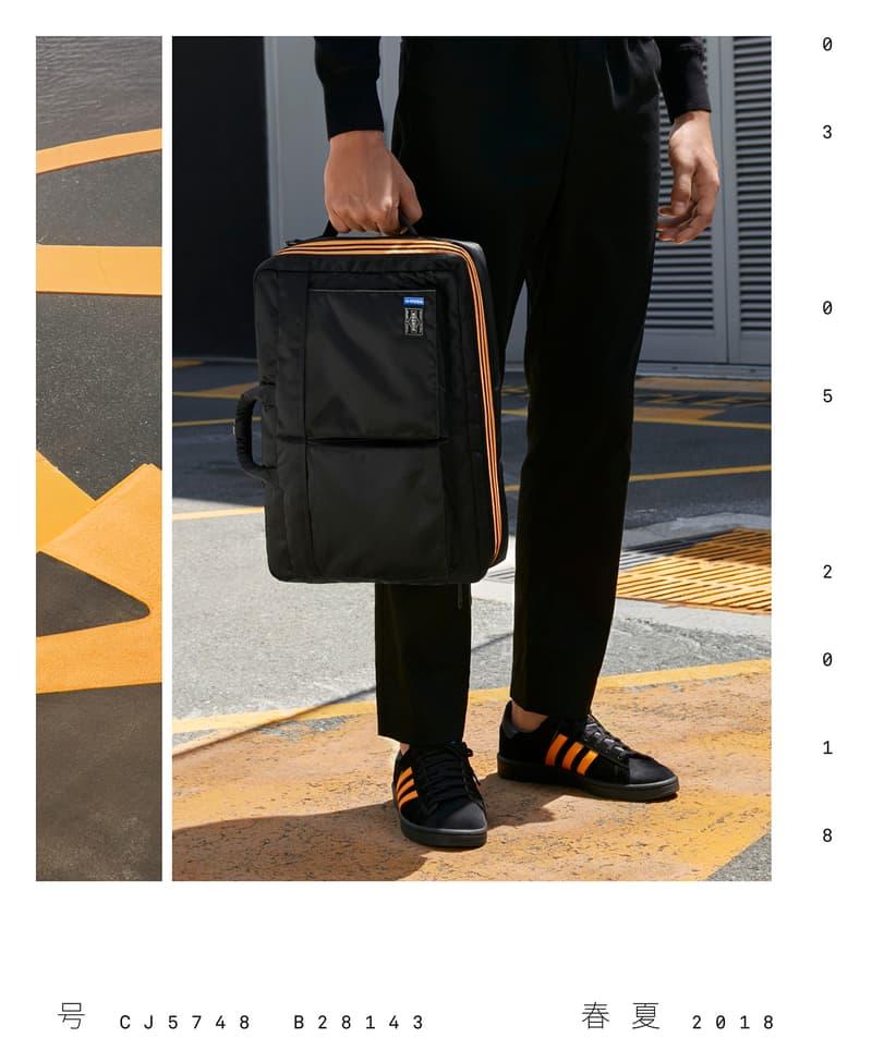PORTER Yoshida Co adidas Originals Campus Luggage Bags 2-way Boston 3-way Brief Case Release Details Information Black Orange Collaboration Spring/Summer 2018 How to Buy Closer Look