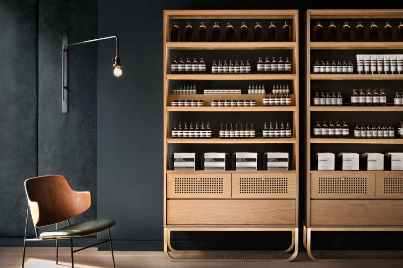 Aesop Store Montreal Alain Carle Architecte Skincare Cosmetics Grooming Dark Green Suede Brass Rich Natural Materials Large Windows White Oak Custom Cabinetry Private Jazz Club Inspiration Skincare Brand Interior Retail Canada Shops Stores Petite Bourgogne Little Burgundy