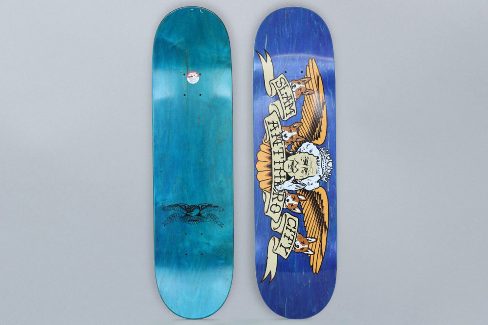 Anti Hero Slam City Skates Collaboration Blue White T-Shirts Skate Decks Classic Eagle Boards Watch Randy Beres Palace Mwadlands