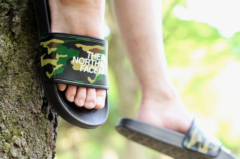 atmos The North Face Base Camp Slide II collection sandals camo camouflage april 21 2018 release date info drop footwear collaboration colorways