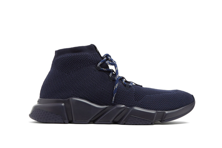 df417ddfd879 Balenciaga s Lace-Up Speed Trainer Debuts in Tonal Navy