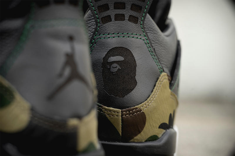 BAPE Air Jordan 4 GORE TEX BespokeIND Custom camo a bathing ape sneakers shoes footwear camouflage melbourne hand painted 8 limited pairs april 6 release date info drop