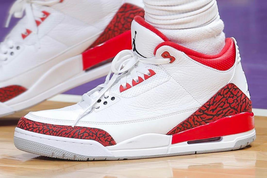 """Chris Paul Sporting Air Jordan 3 """"Red"""
