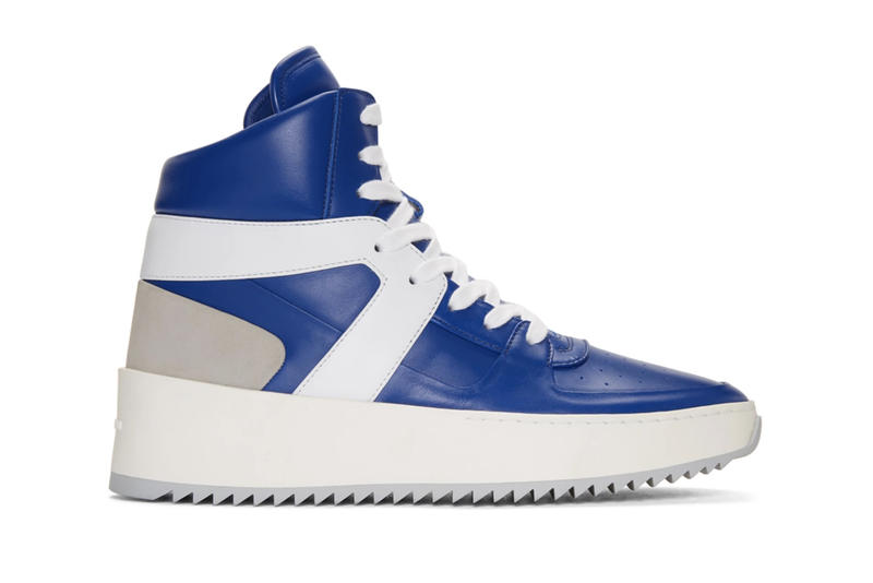Fear of God Jerry Lorenzo SSENSE Exclusive Blue White Basketball High Top Sneakers Kicks Shoes Trainers how to buy purchase release details
