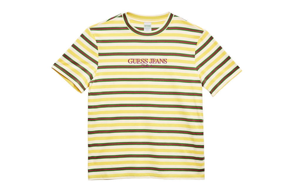 Guess Jeans Usa sean wotherspoon farmers market collaboration drop t shirts colorblocked stripe logo branding may 5 california drop release exlcusive limited 60 80 usd price