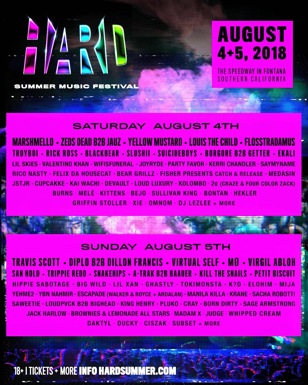 HARD Summer Music Festival 2018 Lineup travis scott virgil abloh rick ross diplo