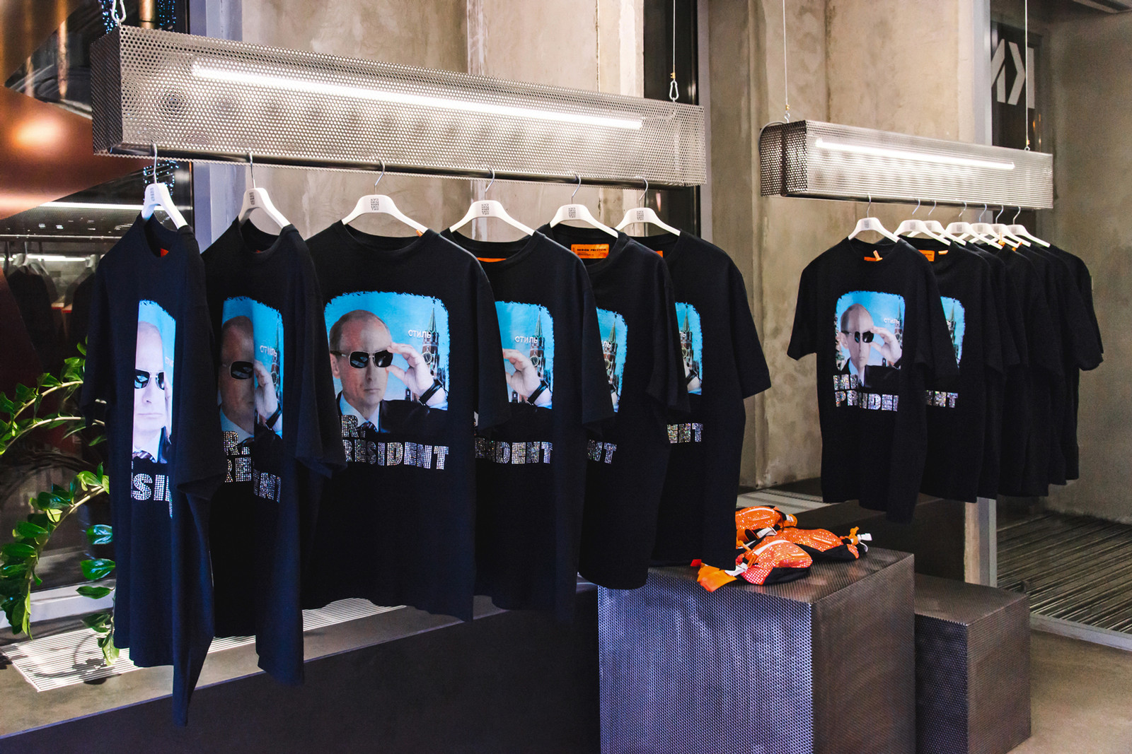 Heron Preston Olga Karput KM20 Collaboration Bejewled Fanny Pack Bag Vladimir Putin T Shirt Mr President Interview